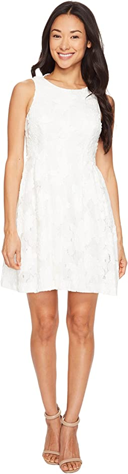 Petite Leather and Lace Textured A-Line Dress