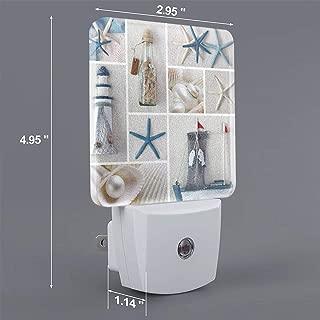 HOKICGR Bottle Seashell Starfish Lighthouse Print Plug-in Lamp with Dusk to Dawn Sensor Auto On/Off Night Light,Nightlight