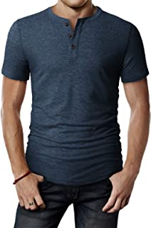 H2H Mens Casual Premium Slim Fit Henley T-Shirts Short Sleeve of Various Styles