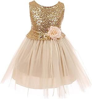 Dreamer Girls Dress Sequins Glitter Floral Tulle Pageant Party Flower Girl Dress