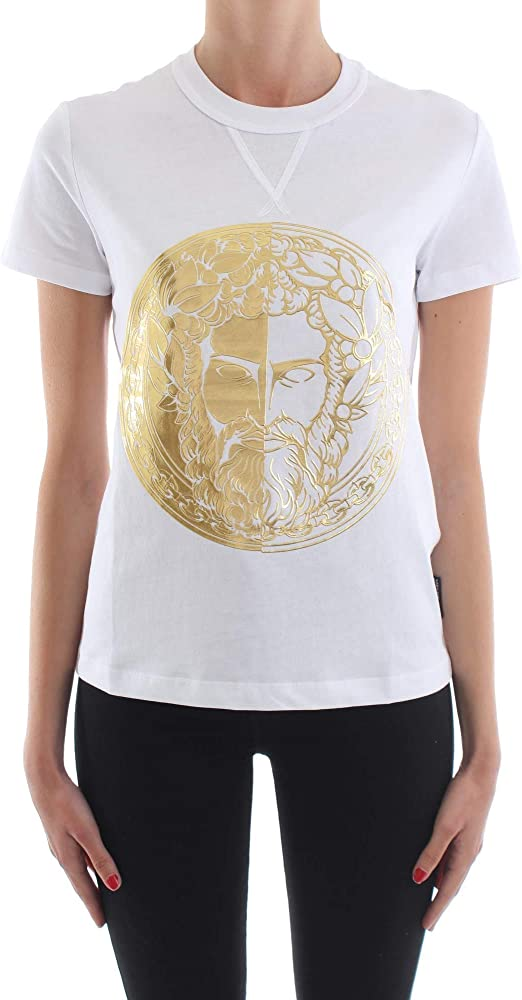 Versace jeans t-shirt, maglietta per donna, 100 % cotone, maniche corte B2.HVA7G0.30314