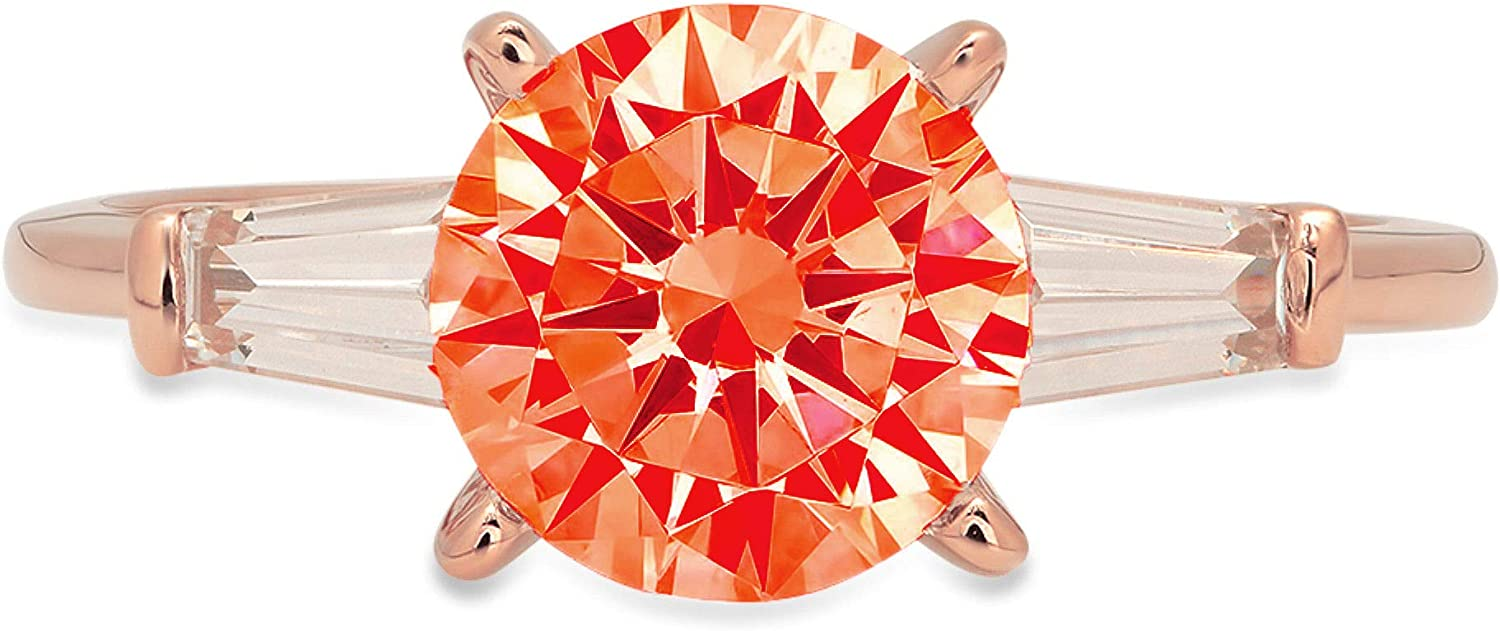 Same All items in the store day shipping 2.0 ct Round Baguette Cut 3 Genuine Solitaire Red Flawless stone