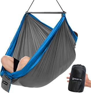 CHILLOUT POD Travel Hammock Chair, Lightweight Hanging Chair, Ultra Compact and Portable, One Minute Setup, Multiple Seating Positions, Foldable One-Piece System (Grey & Blue)
