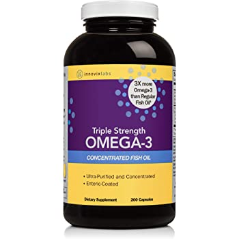 InnovixLabs Triple Strength Omega-3, 200 Capsules, Concentrated Fish Oil, 900 mg Omega-3 per Pill, Enteric Coated, Odorless & Burp-Free, GMO-Free, Gluten-Free, InnovixLabs Omega-3 Fish, Omega-3 Triple