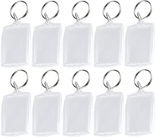 Pack of 10 Transparent Blank Insert Photo Picture Frame Key Ring Split keychain For Passport and Photo Insert