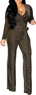 FairBeauty Women's Sexy Sparkly Jumpsuits Clubwear One Piece Deep V Neck Long Sleeve Pants with Belt