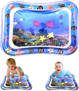 """Inflatable Tummy Time Baby Water Play Mat for Infants Toddlers BPA Free Leakproof Activity Center for Newborns Engaging Fun Summer Cooling Toys for Stimulation Growth 26""""x20"""""""