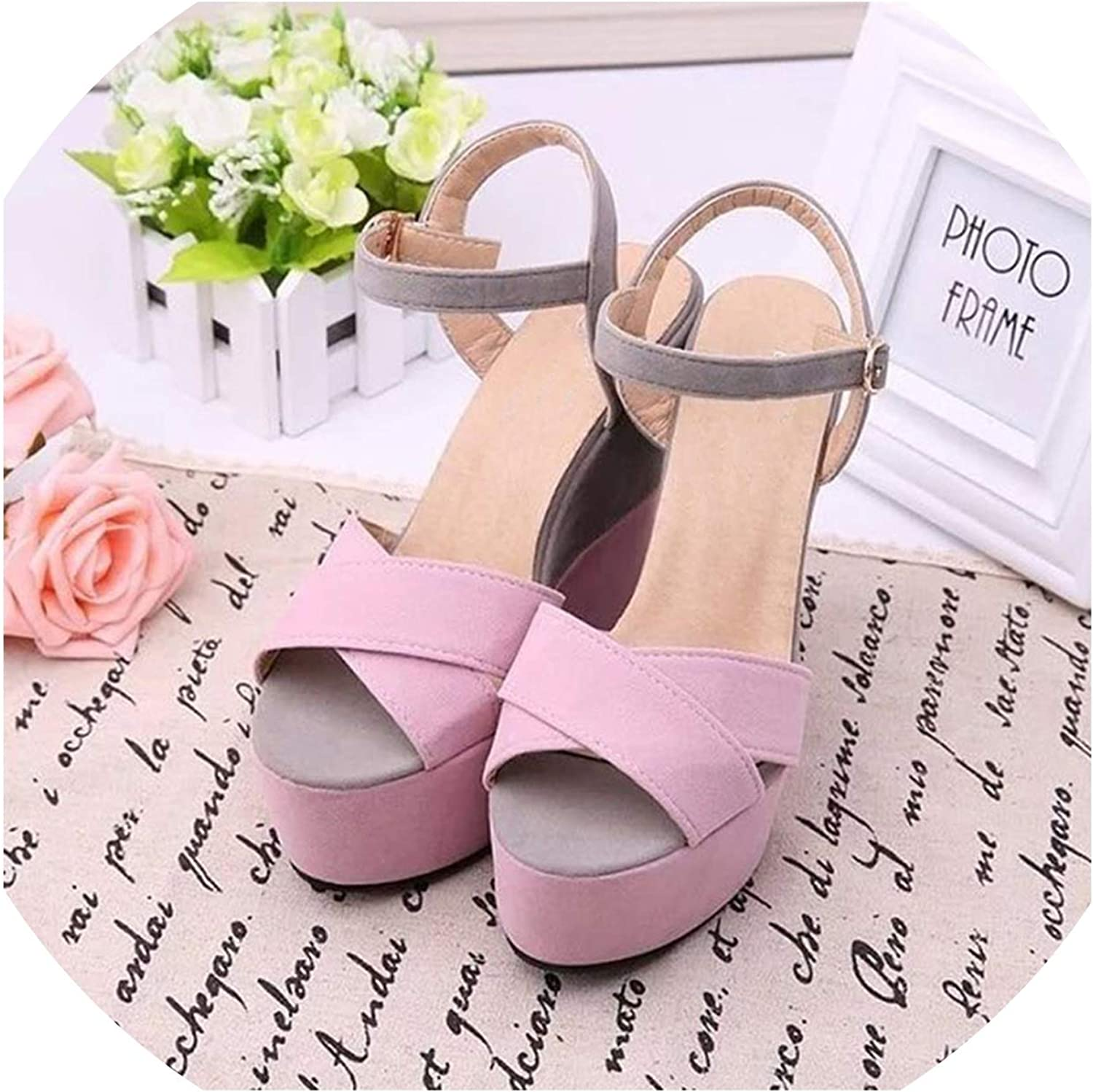 Merry-Heart shoes Women Candy Platform Sandals Summer Peep Sweet,