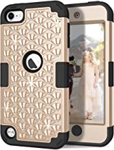 iPod Touch 6th/5th Generation Case, iPod Touch 6/5 Case, Hocase Bling Sparkle Glitter Shockproof Silicone Heavy Duty Protective Hard Case for iPod Model A1574/A1509/A1421 - Gold/Black