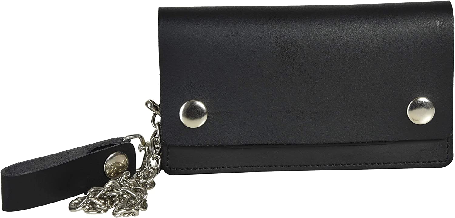 Trifold Biker's Large Wallet ID Card Holder With Chain Genuine Leather