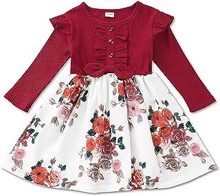 BemeyourBBs Babymeisje bloemenjurk lange mouwen geribbelde jurk ruche bloemenprint jurk één stuk casual rok herfst kindere...