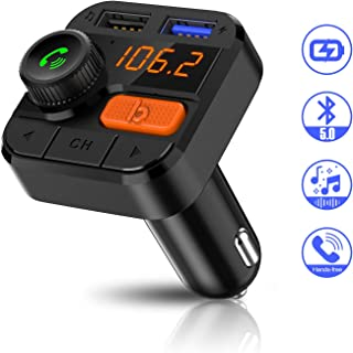 FITNATE Bluetooth FM Transmitter for Car, Upgraded Version Wireless FM Radio Music Player, Super Bass, Support Hands-Free Calling,Three Playing Ways,Bluetooth5.0, Fast Charger