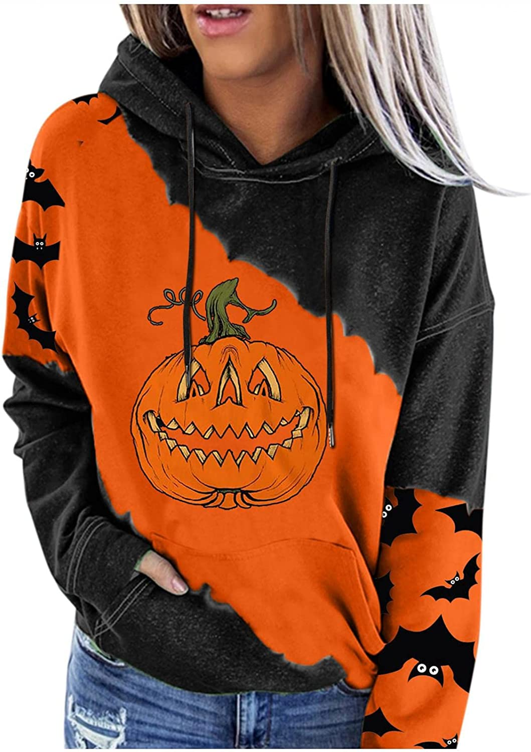 Hoodies for Women Pullover Sweatshirts Lightweight Halloween Printed Sweaters Blouses Button Long Sleeve Drawstring Tops