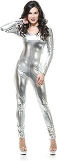 Womens Sexy Liquid Metal Silver Long Sleeve U Neck Unitard Costume