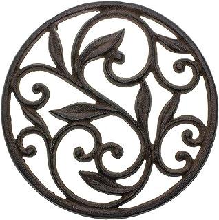 Trébedes decorativa del arrabiopara lacocina o la mesa de comedor | Redondo con patrón Vintage-Con clavijas/pies de goma - Metal reciclado - Vintage, Diseño rústico - Color marrón óxido - porComfify