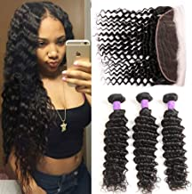 Miss Flower Deep Wave Bundles with Frontal (14 16 18+12 frontal), Deep Curly Virgin Hair Extensions Bundles And Frontal Peruvian Human Hair 3 Bundles with Ear To Ear Lace Frontal Natural Color