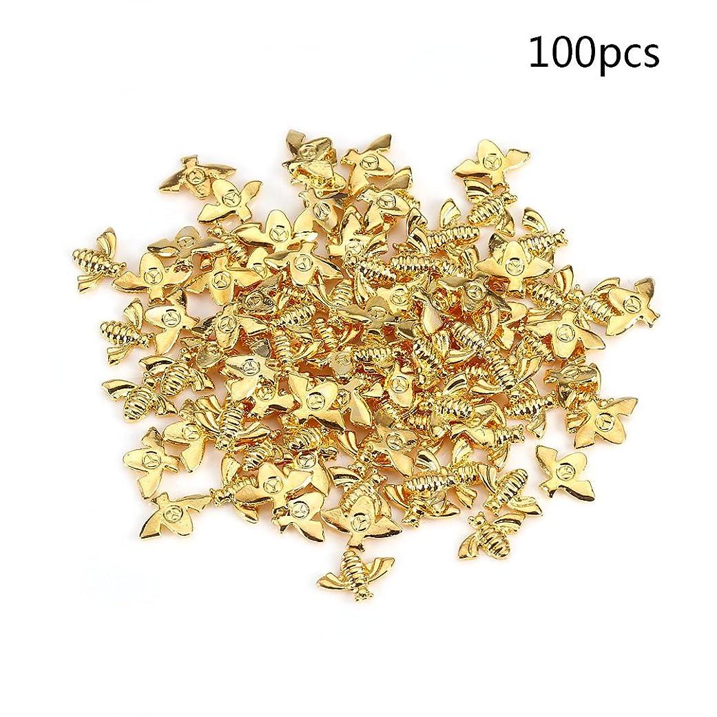 評決香港粘液メタルネイルデコレーション、2色100pcs / bag金属蜂3Dネイルデコレーションメタルスティックゴールドシルバーネイルデカールマニキュア (ゴールド)