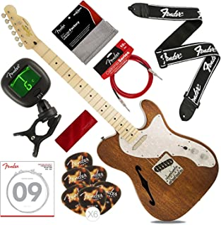 Squier by Fender Classic Vibe Telecaster Custom Beginner Electric Guitar, Natural with Tuner, Strap, Strings, Picks, Cable & Cloth Deluxe Bundle