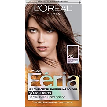 L'Oreal Paris Feria Multi-Faceted Shimmering Permanent Hair Color, 45 French Roast (Deep Bronzed Brown), Pack of 1, Hair Dye