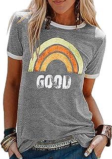Voqeen Camisetas Mujer Manga Corta Top Mujer de Verano Camiseta de Algodón Cómoda Camisetas Basicas con Impresión de Moda