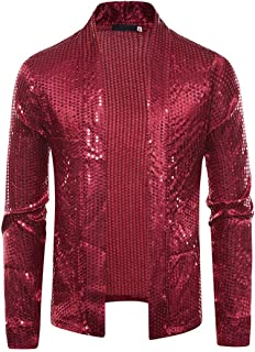 HJHK Men's Long Sleeve Shirt 70S 80S Traditional Shirt with Sequins Metallic Shiny Sequin Glitter Costume Slim Fit Tops fo...