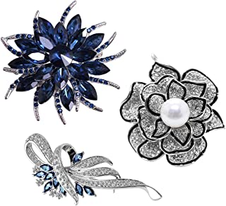 Merdia Brooch Pin for Women Flower Brooch with Created Crystal for Wedding,Party (3pcs)