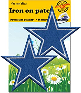 Iron On Patches - Extra Strong Glue Blue Star Patch 2 pcs Iron On Patch Embroidered Applique Star Logo 3
