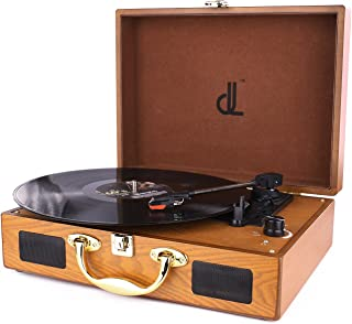 Turntable for Vinyl Records Portable Record Player, 3 Speed Suitcase Phonograph with Built-in Stereo Speakers, PC Recorder, Headphone Jack