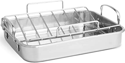 VonShef Stainless Steel Roasting Pan - 17 Inch Rectangular Roaster Pan with Rack - Ideal for Roasting Chicken, Turkey, Mea...