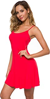 Women's Basic Adjustable Sleeveless Slip Swing Dress Spaghetti Strap Cami Under Mini Nightwear