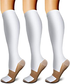 Copper Compression Socks (3 Pairs) 15-20 mmHg Circulation is Best Athletic & Daily for Men & Women, Running, Climbing