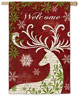 Evergreen Suede Christmas Deer Silhouette House Flag, 29 x 43 inches