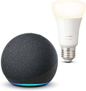 Echo Dot (4ª generazione), Antracite + Philips Hue White Lampadina Connessa (E27), compatibile con Alexa