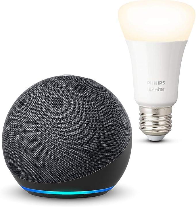 Echo dot (4ª generazione), antracite + philips hue white lampadina connessa (e27), compatibile con alexa