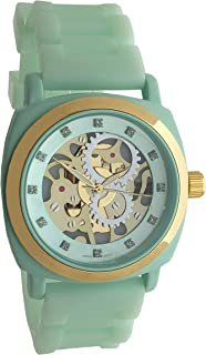 Women's Fashion 40mm Boyfriend Watch - Skeleton Dial with Gold Bezel and Soft Hypoallergenic Silicone Band