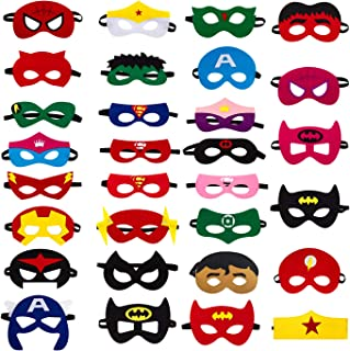 30pcs Superhero Felt Masks for Kids Party Cosplay Superhero Masks with Elastic Rope Party Favors Mask for Birthday Gifts (Multicolor)