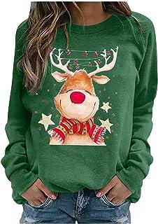 Janly Clearance Sale Womens Pullover Hoodie, Women's Chirstmas Print Crewneck Long-Sleeved Sweatshirt Blouse Casual Pullov...