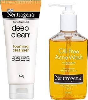 Neutrogena Deep Clean Foaming Cleanser, 100g and Neutrogena Oil Free Acne Face Wash, 175ml