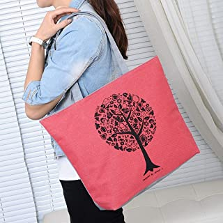 Wultia - 2019 Fashion Folding Women Big Size Handbag Tote Ladies Casual Flower Printing Canvas Graffiti Shoulder Bag Beach Bolsa Feminina red