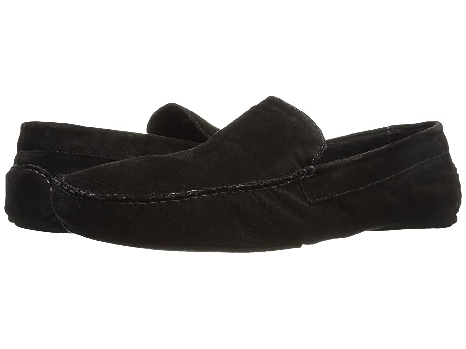 Image of a. testoni Suede Lined Cashmere Slipper (Black) Men's Slip on Shoes