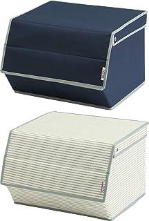 旭金属 収納ボックス L ネイビー ボーダー 2個セット フロントオープン ストレージ LE-L/BI (NV+BD)