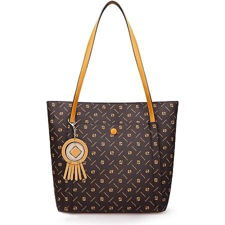 Pomelo Best Handtasche Damen Shopper Groß Damen Tasche für Büro Schule Einkauf (Kaffeebraun)
