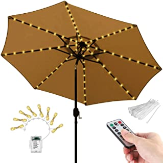 104 LEDs Patio Umbrella String Lights, 8 Lighting Mode with Remote Control Battery Operated Waterproof Outdoor Lighting fo...