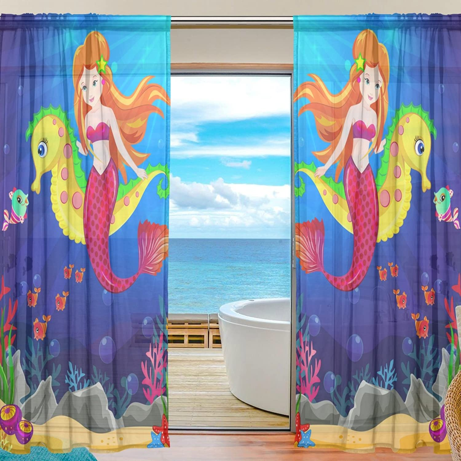 Vantaso Sheer Curtains 78 inch Beauty Red Mermaid Ride On golden Seahorse in bluee for Kids Girls Bedroom Living Room Window Decorative 2 Panels