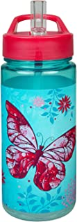 Scooli BUTE9913 Aero drinkfles van kunststof met geïntegreerd rietje en drinkdoppen, butterfly, BPA en ftalaatvrij, ca. 50...