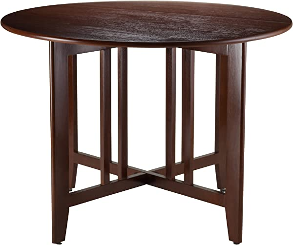 Winsome Wood Alamo 94142 Double Drop Leaf Round Table Mission Walnut 42 Inch