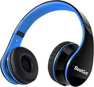 BestGotキッズヘッドホン 密閉型 子供用ヘッドフォン折りたたみ式 高音質 マイク付き 3.5mコード ハンズフリー通話 (ブラック/ブルー)