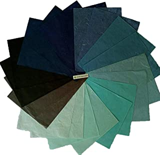 NAVA CHIANGMAI Thin Standard Color of Mulberry Paper Sheets Paper Decorative DIY Craft Scrapbook Wedding Decorative Mulberry Paper Art Tissue Japan (Blue Tone)