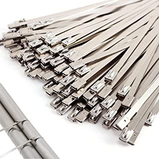 moyanzd 100 pcs Metal Cable Ties Silver Multi-Purpose Heavy Duty Zip Ties 300mmx4.6mm for Exhaust Wrapping Fence Home Auto...