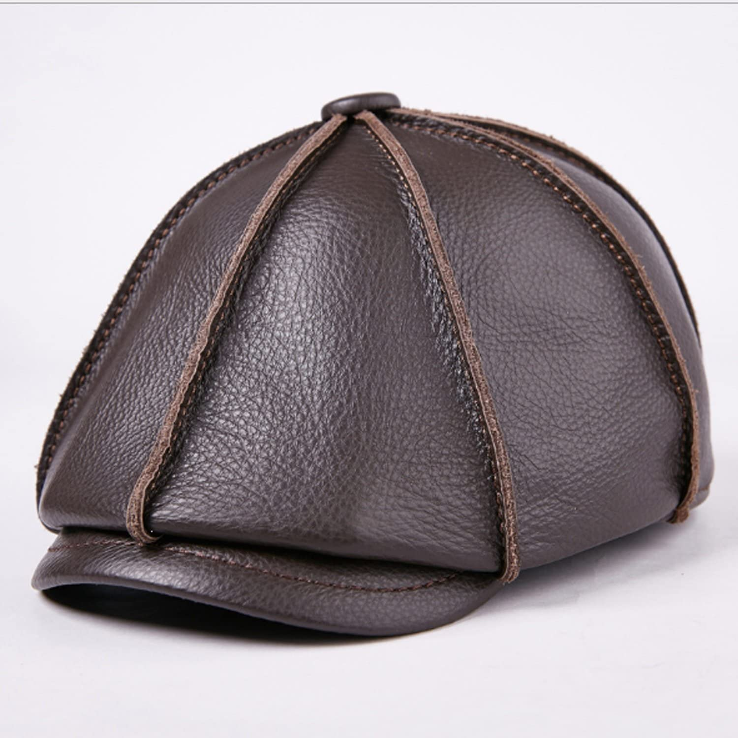Hat Leather Cowhide Man and Woman Autumn Winter Cap Leisure Fashion Outdoor Octagonal Cap to Keep Warm (color   Dark Brown, Size   XL)